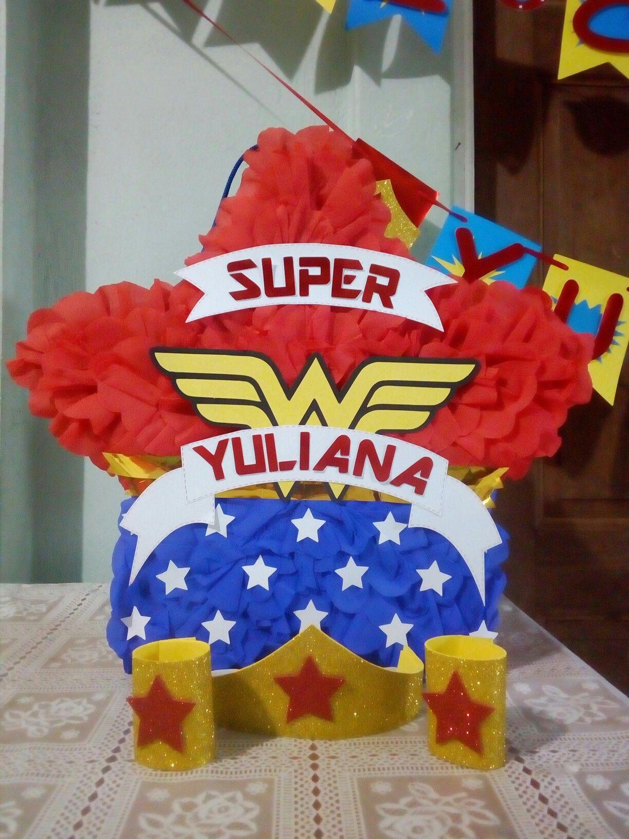 mujer maravilla estrella piñata