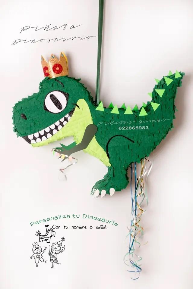 piñata dinosaurio t-rex con corona