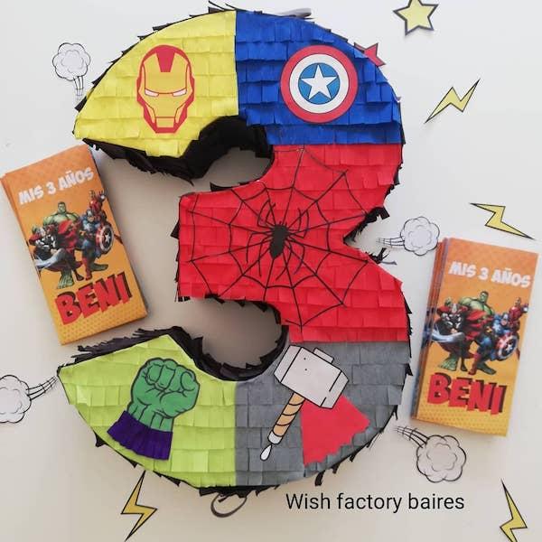 piñatas de numeros 3 thor hulk